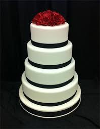 White Wedding Cake With Black Ribbon And Red Roses Wedding Cakes