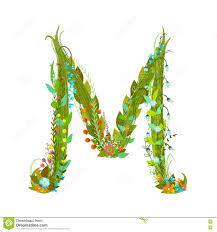 M Lettering Design Letter M Flower Calligraphy Floral Elegant Decorative