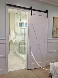 Awesome White Polished Single Wooden Sliding Bathroom Barn Doors For Homes  Interior Added Modern Shower Room Ideas