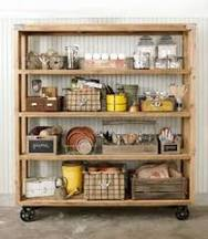 Industrial metal shelf with one wooden shelf area - so useful from ...