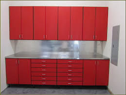 red metal wall garage storage cabinet with doors and drawers feat stainless steel counter top