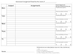 Weekly Homework Assignment Sheet Work Assignment Template Missing Homework Assignment