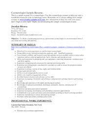 cosmetology resume skills  company resume