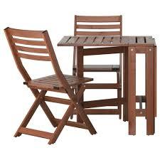 IKEA PPLAR table+2 folding chairs, outdoor