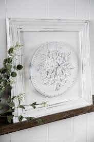 diy framed plaster medallion wall art