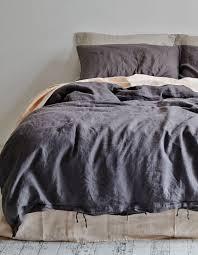 linen duvet cover queen charcoal in bed homeware superette your fashion destination