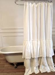Plain White Ruffle Shower Curtain Lace In Decorating Ideas