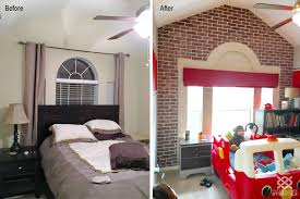 a before and after of a diy faux brick stenciled accent wall in a bedroom using