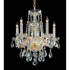 traditional crystal polished brass five light crystal chandelier