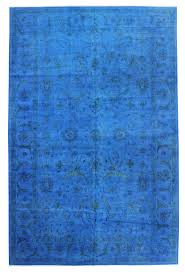 overdyed and patchwork rug gallery blue overdyed rug hand knotted in india