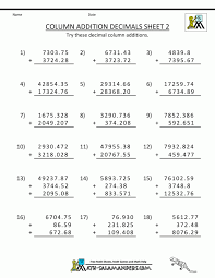 Addition Decimal Worksheets Column Numbers Adding And Subtracting ...