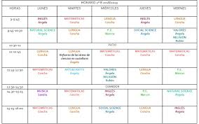 Horario Semanal English Is Fun 2 B Horario Semanal 2 B