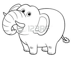 Elephant Coloring Illustration Of Cartoon Elephant Coloring Book