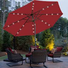Better Homes And Gardens Off Set Umbrella With Solar Lights 10 Hanging Solar Led Umbrella Patio Sun Shade Offset Market Burgundy