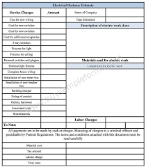 Electrical Business Estimate Form Template In Word Format