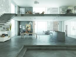 polished concrete floor loft. Contemporary Open-plan European Home With Thin Cementitious Polished Floor Giving The Look Of A Concrete Loft D