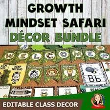 Growth Mindset Jungle Safari Editable Decor Bundle
