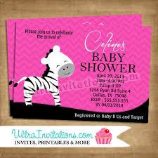 Pink Zebra Baby Q Diaper Invitation Pink Zebra Baby Shower Invitations