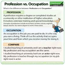 Occupation Chart Pictures The Difference Between Profession And Occupation