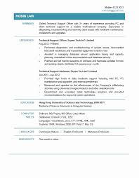 Technical Support Resume format Inspirational Resume Technical Support  Resume .