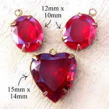 ruby red heart pendant and ruby red oval earring jewels