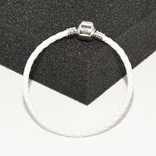 100 real white leather weave bracelets original box for pandora 925 sterling silver men women charm bracelet hand chain personalized charm bracelet vintage