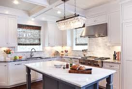 clarissa crystal drop extra long rectangular chandelier with gray kitchen island