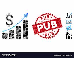 Mosaic Financial Bar Chart Icon With Grunge Pub