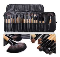 24 piece bobbi brown makeup brush set with leather pouch
