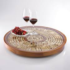 Lazy Susan Decorative Accessories Wine Cork Lazy Susan Kit Wine Enthusiast 2