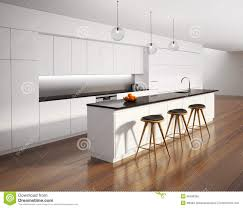 modern white kitchen wood floor. Contemporary Kitchen Modern White Kitchen Wood Floor Contemporary Minimal With  Black Details Stock Photo