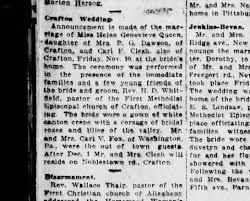 Carl Clesh Sr. first wedding to Helen Queen - Newspapers.com