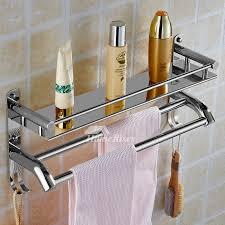 2 layer metal bathroom wall shelf