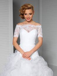 White Wedding Lace Top Off The Shoulder Bridal Bolero Jacket Short