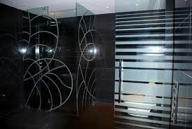 image of elegant black frosted glass shower doors