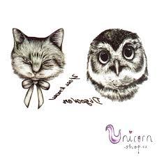 Dočasné Tetování Kočka A Sova