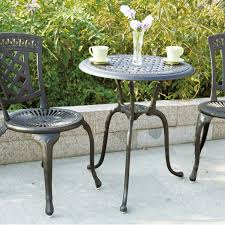 darlee new port 3 piece cast aluminum patio bistro set antique bronze