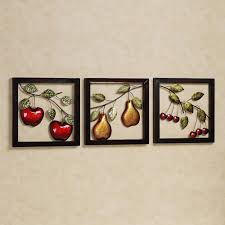 beautiful fruits metal wall art decor kitchen with black frame in recent metal wall art for