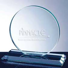Circle Appreciation Award White Glass Large Recognition Award