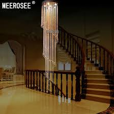 meerosee spiral crystal light fixture long crystal chandelier light re de cristal for staircase stairs foyer crystal stair lamp md2215 ceiling light