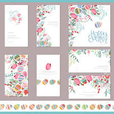 Floral Spring Templates With Cute Flowers And Painted Eggs Endless