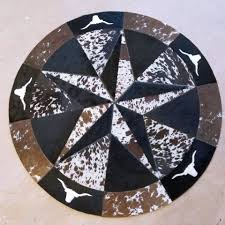tricolor cowhide star round patchwork rug