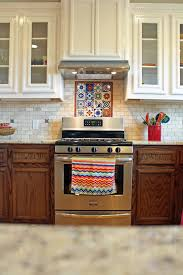 brick backsplash ideas. Spanish #kitchen Design With Talavera #tile And Travertine Brick Backsplash. #ideas Backsplash Ideas K