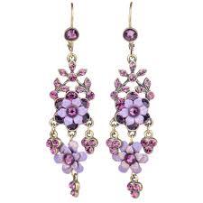 michal negrin flower chandelier earrings purple mix
