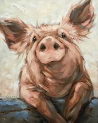 pig painting original impressionistic oil painting of a pig 8x10 on panel pig