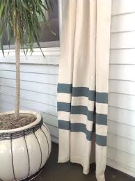 Striped Living Room Curtains Painters Drop Cloth With Simple Stripes Painted On The Bottom