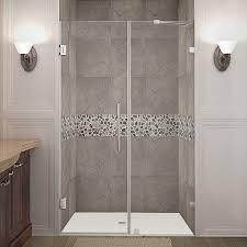 aston nautis 48 in x 72 in frameless hinged shower door in chrome with