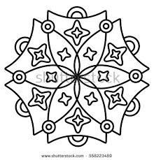 easy fl black and white mandala for coloring book pages abstract doodle flower shape to