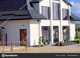 Home Modern Haus Außen Luxus Bau Vorne Luxuriös Fenster Wohn
