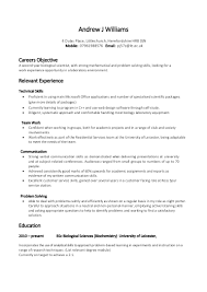 Cv Objective Examples Uk Resume Examples Example Resume Skills